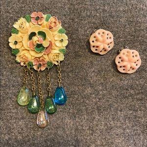 SUPER RARE Vintage Celluloid Broach & Earrings